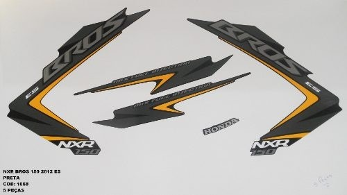 Faixa Nxr 150 Bros Es 12 - Moto Cor Preta - Kit 1068