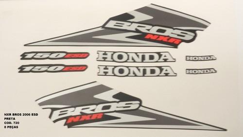 Faixa Nxr 150 Bros Esd 06 - Moto Cor Preta - Kit 720
