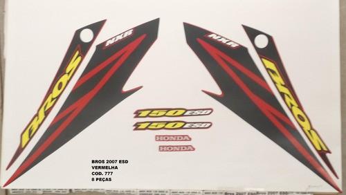 Faixa Nxr 150 Bros Esd 07 - Moto Cor Verm - Kit 777