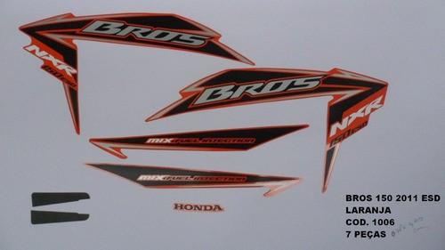 Faixa Nxr 150 Bros Esd 11 - Moto Cor Laranja - Kit 1006