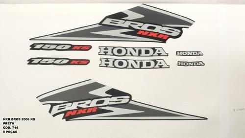 Faixa Nxr 150 Bros Ks 06 - Moto Cor Preta - Kit 714