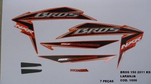Faixa Nxr 150 Bros Ks 11 - Moto Cor Laranja - Kit 1000