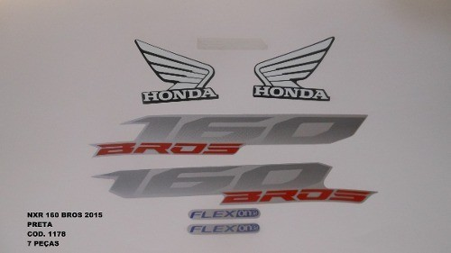 Faixa Nxr 160 Bros 15 - Moto Cor Preta (1178 - Kit Adesivos)