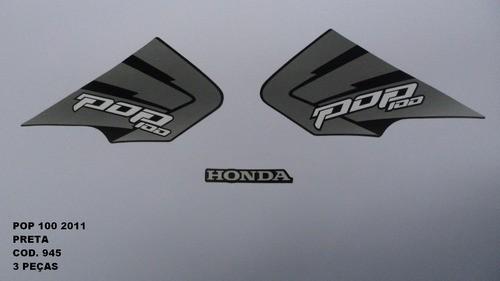 Faixa Pop 100 11 - Moto Cor Preta (945 - Kit Adesivos)