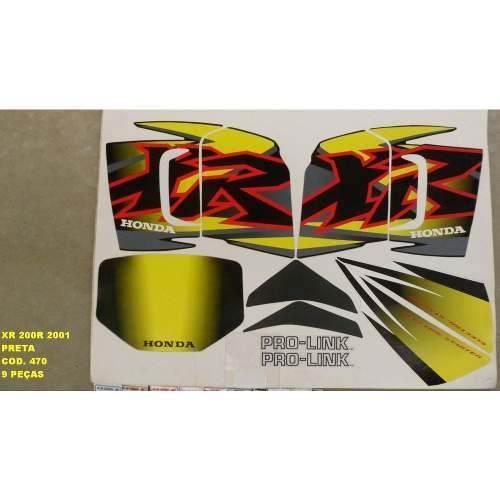 Faixa Xr 200 01 - Moto Cor Preta (470 - Kit Adesivos)