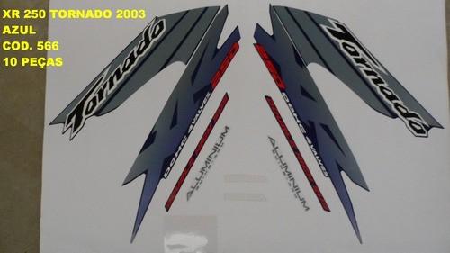 Faixa Xr 250 Tornado 03 - Moto Cor Azul (566 - Kit Adesivos)