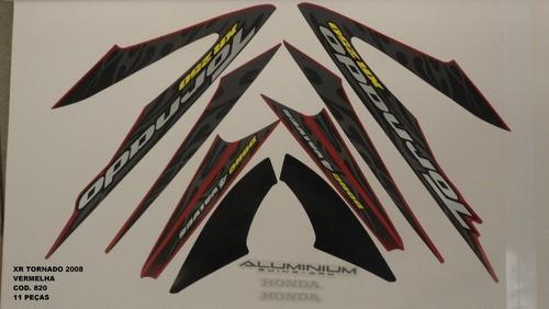Faixa Xr 250 Tornado 08 - Moto Cor Vermelha - Kit 820