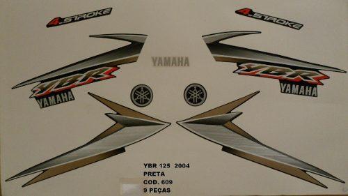 Faixa Ybr 125 04 - Moto Cor Preta 609 - Kit Adesivos