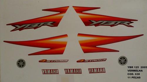 Faixa Ybr 125 05 - Moto Cor Vermelha (638 - Kit Adesivos)