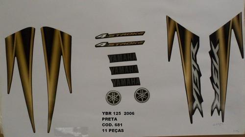 Faixa Ybr 125 06 - Moto Cor Preta (681 - Kit Adesivos)