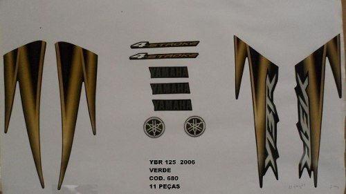 Faixa Ybr 125 06 - Moto Cor Verde (680 - Kit Adesivos)