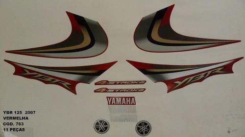 Faixa Ybr 125 07 - Moto Cor Vermelha (763 - Kit Adesivos)