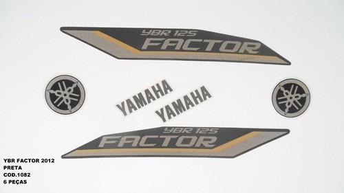 Faixa Ybr 125 Factor 12 - Moto Cor Preta - Kit 1082