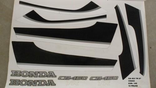 Faixas Cb 450 87 Tr - Moto Cor Vinho (145 - Kit Adesivos)