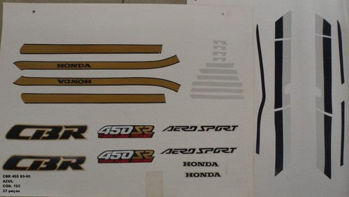 Faixas Cbr 450 89/90 - Moto Cor Azul (192 - Kit Adesivos)
