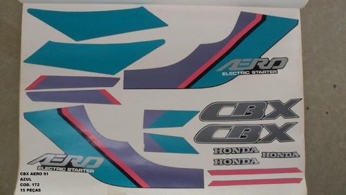 Faixas Cbx 150 Aero 91 - Moto Cor Azul (172 - Kit Adesivos)