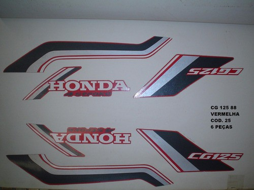 Faixas Cg 125 88 - Moto Cor Vermelha (25 - Kit Adesivos)