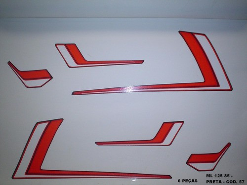 Faixas Cg 125 Ml 85 - Moto Cor Preta - Kit 57
