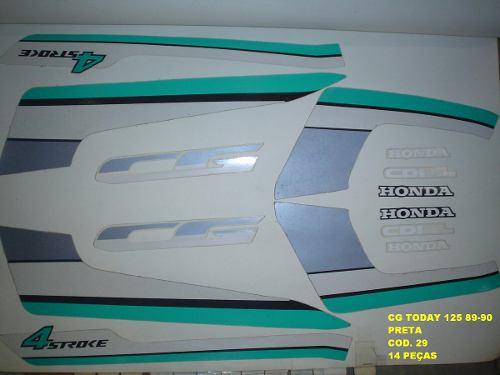 Faixas Cg 125 Today 89/90 - Moto Cor Preta - Kit 29