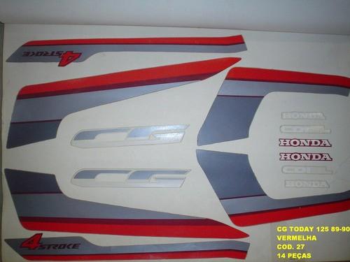 Faixas Cg 125 Today 89/90 - Moto Cor Vermelha - Kit 27