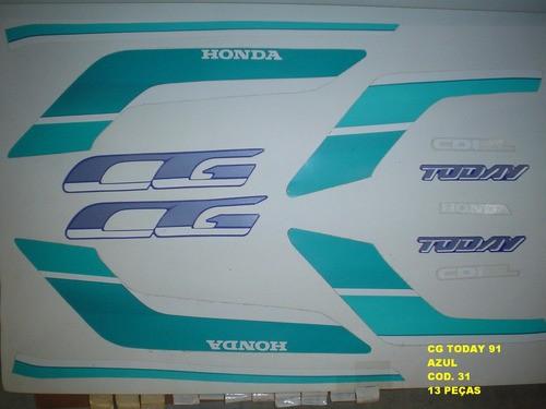 Faixas Cg 125 Today 91 - Moto Cor Azul (31 - Kit Adesivos)