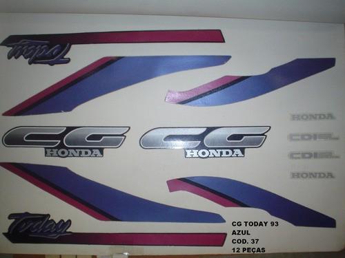 Faixas Cg 125 Today 93 - Moto Cor Azul (37 - Kit Adesivos)