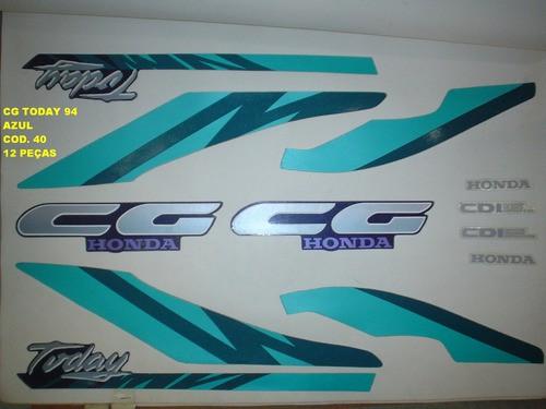 Faixas Cg 125 Today 94 - Moto Cor Azul (40 - Kit Adesivos)