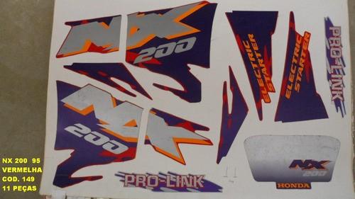 Faixas Nx 200 95 - Moto Cor Vermelha (149 - Kit Adesivos)