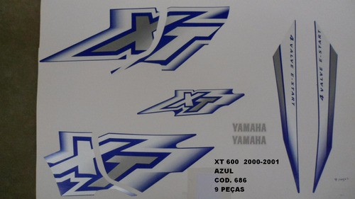 Faixas Xt 600 00/01 - Moto Cor Azul (686 - Kit Adesivos)