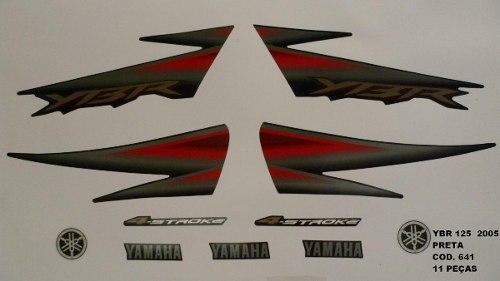 Faixas Ybr 125 05 - Moto Cor Preta (641 - Kit Adesivos)