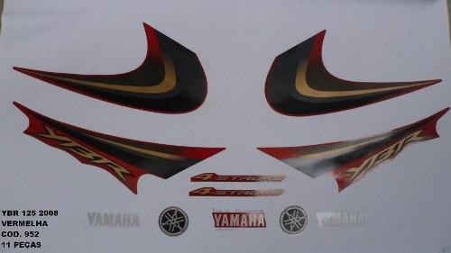 Faixas Ybr 125 08 - Moto Cor Vermelha - Kit 952