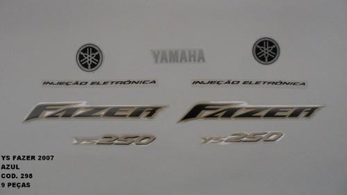 Kit Adesivos Fazer 250 07 - Moto Cor Azul (298 )..