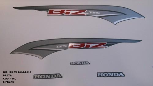 Kit De Adesivos Biz 125 Ex 14 - Moto Cor Preta 1160