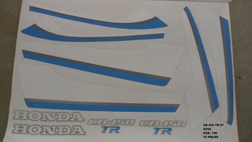 Kit De Adesivos Cb 450 87 Tr - Moto Cor Azul 146