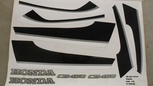 Kit De Adesivos Cb 450 87 Tr - Moto Cor Vinho 145