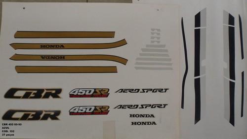 Kit De Adesivos Cbr 450 89/90 - Moto Cor Azul 192