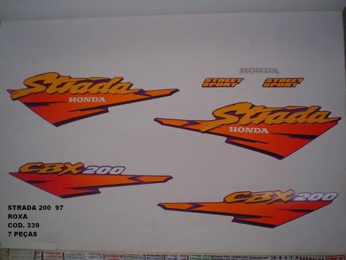 Kit De Adesivos Cbx 200 Strada 97 - Moto Cor Roxa 339