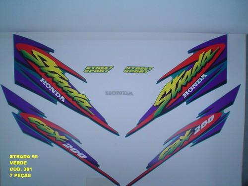 Kit De Adesivos Cbx 200 Strada 99 - Moto Cor Verde - 381