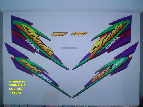 Kit De Adesivos Cbx 200 Strada 99 - Moto Cor Vermelha - 380
