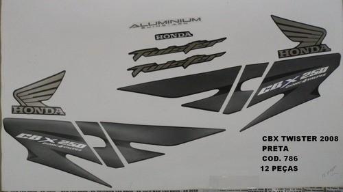 Kit De Adesivos Cbx 250 Twister 08 - Moto Cor Preta - 786