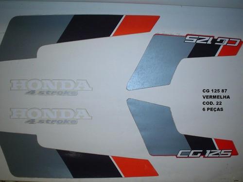 Kit De Adesivos Cg 125 87 - Moto Cor Vermelha - 22