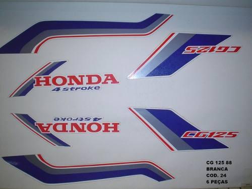 Kit De Adesivos Cg 125 88 - Moto Cor Branca (24 - Adesivos)