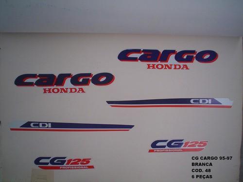 Kit De Adesivos Cg 125 Cargo 95/97 - Moto Cor Branca - 48