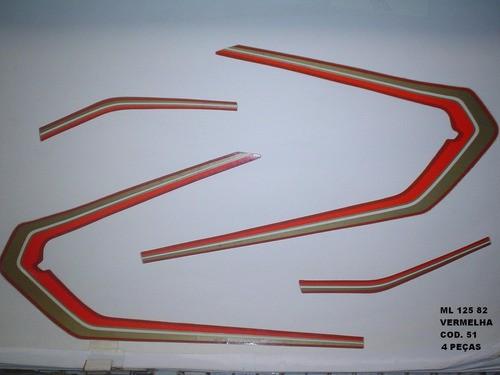 Kit De Adesivos Cg 125 Ml 82 - Moto Cor Vermelha - 51