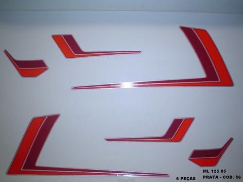 Kit De Adesivos Cg 125 Ml 85 - Moto Cor Prata 56