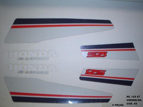 Kit De Adesivos Cg 125 Ml 87 - Moto Cor Vermelha 60