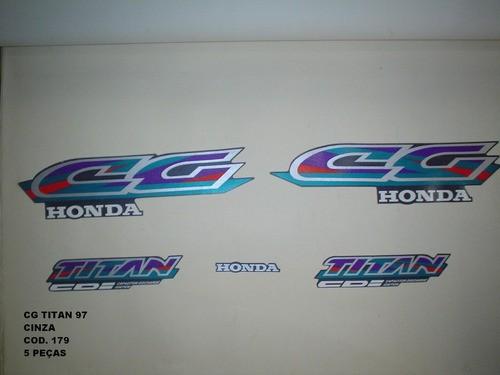 Kit De Adesivos Cg 125 Titan 97 - Moto Cor Cinza 179