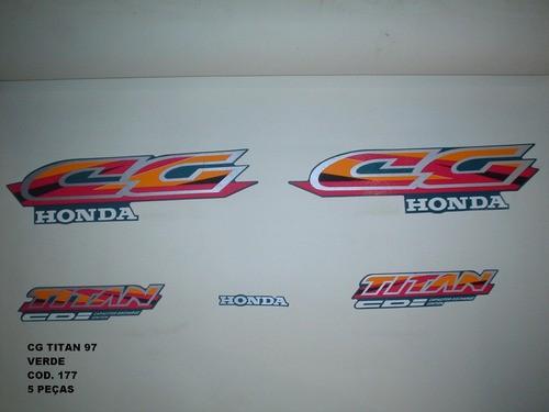 Kit De Adesivos Cg 125 Titan 97 - Moto Cor Verde 177
