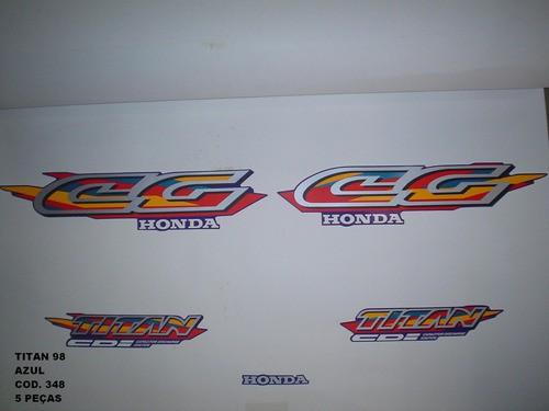 Kit De Adesivos Cg 125 Titan 98 - Moto Cor Azul 348