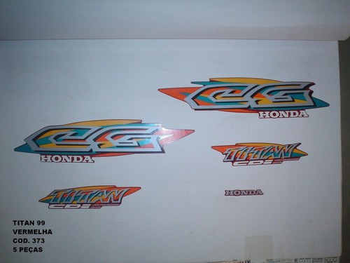 Kit De Adesivos Cg 125 Titan 99 - Moto Cor Vermelha - 373